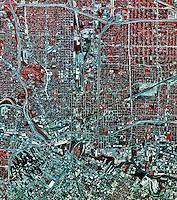 historical infrared aerial photograph of Houston, Texas, 1995