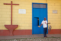Cuba, Trinidad.  A Fish Monger in front of the house where Alexander Humboldt, for whom  the Humboldt current is named, stayed in 1801.