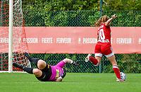 Davinia Vanmechelen (10) of Standard gets away from Estelle Loos (14) of Eendracht Aalst during a female soccer game between Standard Femina de Liege and Eendracht Aalst dames on the fourth matchday in the 2021 - 2022 season of the Belgian Scooore Womens Super League , Saturday 11 th of September 2021  in Angleur , Belgium . PHOTO SPORTPIX | BERNARD GILLET