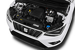 Car stock 2018 Seat Arona Xcellence 5 Door SUV engine high angle detail view