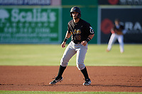 West Virginia Black Bears Kyle Wilkie (10) leads off during a NY-Penn League game against the Batavia Muckdogs on June 27, 2019 at Dwyer Stadium in Batavia, New York.  West Virginia defeated Batavia 6-5 in ten innings.  (Mike Janes/Four Seam Images)