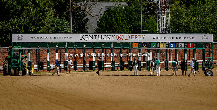 September 1, 2020: Starters prepare the brand new 20-horse kentucky Derby starting for its first use on opening day of Kentucky Derby Week at Churchill Downs in Louisville, Kentucky. Scott Serio/Eclipse Sportswire/CSM