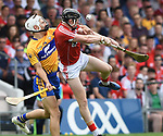 Aron Shanagher of Clare in action against Damien Cahalane of Corkduring their Munster senior hurling final at Thurles. Photograph by John Kelly.