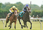 JULY 03, 2021: Out of Sorts, #9, ridden by jockey Sheldon Russell wins the Christiana Stakes for three-year-old fillies on July 03, 2021 at Delaware park in Willington, Delaware. Scott Serio/Eclipse Sportswire/CSM