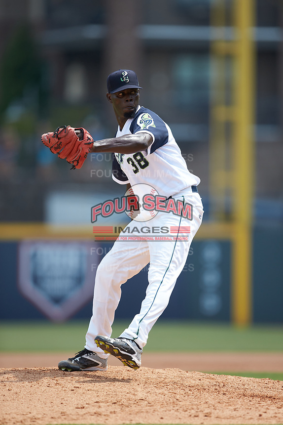 Gwinnett Stripers relief pitcher Rafael De Paula (38) in action against the Scranton/Wilkes-Barre RailRiders at Coolray Field on August 18, 2019 in Lawrenceville, Georgia. The RailRiders defeated the Stripers 9-3. (Brian Westerholt/Four Seam Images)