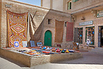 A souvenir shop sits within the 14th century Ouled El Hadef quarter in Tozeur, Tunisia, which is constructed in the city's traditional and unique brickwork style.