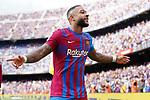 FC Barcelona's Memphis Depay celebrates goal during La Liga match. August 29, 2021. (ALTERPHOTOS/Acero)
