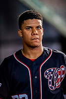 21 September 2018: Washington Nationals outfielder Juan Soto in the dugout during a game against the New York Mets at Nationals Park in Washington, DC. The Mets defeated the Nationals 4-2 in the second game of their 4-game series. Mandatory Credit: Ed Wolfstein Photo *** RAW (NEF) Image File Available ***