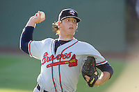 Starting pitcher Lucas Sims (26) of the Rome Braves before a game against the Greenville Drive on Wednesday, August 21, 2013, at Fluor Field at the West End in Greenville, South Carolina. Sims was the No. 1 pick of the Atlanta Braves in the first round of the 2012 First-Year Player Draft. Rome and Sims picked up the win, 6-2. (Tom Priddy/Four Seam Images)