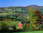 Caledonia County, VT<br /> Farms nestled in a valley of green pastures and autumn colored hardwood forests near Peacham