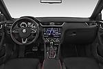 Stock photo of straight dashboard view of a 2014 Skoda Octavia 2.0 CRTDI 135kw DSG6 RS 5 Door Wagon 2WD Dashboard
