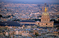 City buildings at sunset as seen from the Arc de Triomphe  including Les Invalides, Paris, France.