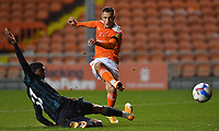 Blackpool's Jerry Yates fires in a shot on goal<br /> <br /> Photographer Dave Howarth/CameraSport<br /> <br /> EFL Trophy - Northern Section - Group G - Blackpool v Leeds United U21 - Wednesday 11th November 2020 - Bloomfield Road - Blackpool<br />  <br /> World Copyright © 2020 CameraSport. All rights reserved. 43 Linden Ave. Countesthorpe. Leicester. England. LE8 5PG - Tel: +44 (0) 116 277 4147 - admin@camerasport.com - www.camerasport.com