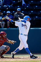 Kevin Kramer #7 of the UCLA Bruins bats against the Oklahoma Sooners at Jackie Robinson Stadium on March 9, 2013 in Los Angeles, California. (Larry Goren/Four Seam Images)