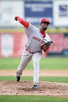 Greeneville Reds relief pitcher Francis Jones (40) delivers a pitch during the first game of a doubleheader against the Princeton Rays on July 25, 2018 at Hunnicutt Field in Princeton, West Virginia.  Princeton defeated Greeneville 6-4.  (Mike Janes/Four Seam Images)