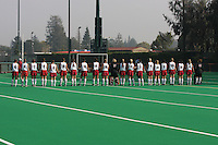 6 November 2007: Stanford Cardinal Camille Gandhi, Midori Uehara, Jaimee Erickson, Nora Soza, Jess Zutz, Rachel Mozenter, Hillary Braun, Xanthe Travlos, Jennifer Luther, Bailey Richardson, Heather Alcorn, Lisa Maffucci, Katherine Swank, Chloe Bade, Caroline Hussey, Marlana Shile, Rachel Bush, Katherine Donner, Annika Alexander-Ozinskas, Madison Bell, Alessandra Moss, Julia Druce during Stanford's 1-0 win against the Lock Haven Lady Eagles in an NCAA play-in game to advance to the NCAA tournament at the Varsity Field Hockey Turf in Stanford, CA.