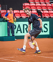 The Hague, The Netherlands, September 11, 2017,  Sportcampus , Davis Cup Netherlands - Chech Republic, training, Captain Paul Haarhuis (L) and Matwe Middelkoop (NED) <br /> Photo: Tennisimages/Henk Koster