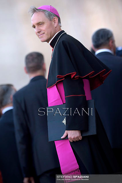 Monsignor Georg Gänswein.Pope Francis  the  meeting with members of the Italian Sports Centre C.S.I. in St.Peter's Square at the Vatican.  June 7, 2014