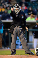 Umpire Evan Barger makes a call during a game between the Dayton Dragons and Bowling Green Hot Rods on April 20, 2013 at Fifth Third Field in Dayton, Ohio.  Dayton defeated Bowling Green 6-3.  (Mike Janes/Four Seam Images)