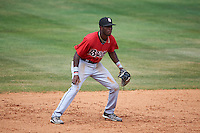 Birmingham Barons shortstop Tim Anderson (7) during a game against the Biloxi Shuckers on May 24, 2015 at Joe Davis Stadium in Huntsville, Alabama.  Birmingham defeated Biloxi 6-4 as the Shuckers are playing all games on the road, or neutral sites like their former home in Huntsville, until the teams new stadium is completed in early June.  (Mike Janes/Four Seam Images)