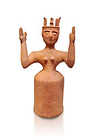 Minoan Postpalatial terracotta  goddess statue with raised arms,  Karphi Sanctuary 1200-1100 BC, Heraklion Archaeological Museum, white background. <br /> <br /> The Goddesses are crowned with symbols of earth and sky in the shapes of snakes and birds, describing attributes of the goddess as protector of nature.