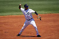 Detroit Tigers Pedro Martinez Jr (45) throws to first base during a Minor League Spring Training game against the Toronto Blue Jays on April 22, 2021 at Tigertown in Lakeland, Florida.  (Mike Janes/Four Seam Images)