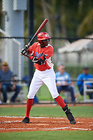 Juan Martinez (7) during the Dominican Prospect League Elite Florida Event at Pompano Beach Baseball Park on October 15, 2019 in Pompano beach, Florida.  (Mike Janes/Four Seam Images)
