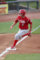 Reading Phillies third baseman Cody Overbeck (8) during a game vs. the Erie Seawolves at Jerry Uht Park in Erie, Pennsylvania;  July 19, 2010.   Reading defeated Erie 6-1.  Photo By Mike Janes/Four Seam Images
