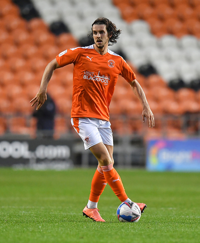 Blackpool's Jordan Williams<br /> <br /> Photographer Dave Howarth/CameraSport<br /> <br /> EFL Trophy Northern Section Group G - Blackpool v Barrow - Tuesday 8th September 2020 - Bloomfield Road - Blackpool<br />  <br /> World Copyright © 2020 CameraSport. All rights reserved. 43 Linden Ave. Countesthorpe. Leicester. England. LE8 5PG - Tel: +44 (0) 116 277 4147 - admin@camerasport.com - www.camerasport.com