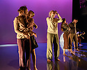 """Leeds, UK. 28.11.2018. Second Year students of BA (Hons) Dance (Contemporary), at the Northern School of Contemporary Dance, present NEW GROUND, in the RIley Theatre. This piece is: """"Never Did Run Smooth"""" by choreographer Wayne Parsons. The dancers are:  Edgars Naglis, Mirabel Huang-Smith, Zoe Letellier, Jack Richardson, Christy Lothian, Maria Christina Pritasari, Niamh Milligan, Polly Constance, Nicole Nevitt. Photograph © Jane Hobson."""