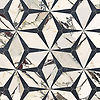 Cassiopeia, a waterjet cut stone mosaic, shown in polished Plumeria and hone Orpheus Black, is part of the Semplice® collection for New Ravenna.