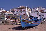 Europe, PRT, Portugal, Algarve, Albufeira, Typical Fishing Boat at the beach....[ For each utilisation of my images my General Terms and Conditions are mandatory. Usage only against use message and proof. Download of my General Terms and Conditions under http://www.image-box.com or ask for sending. A clearance before usage is necessary...Material is subject to royalties. Each utilisation of my images is subject to a fee in accordance to the present valid MFM-List...Contact | archive@image-box.com | www.image-box.com ]