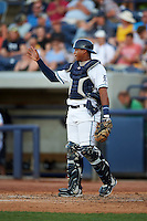 West Michigan Whitecaps catcher Franklin Navarro (31) during a game against the Burlington Bees on July 25, 2016 at Fifth Third Ballpark in Grand Rapids, Michigan.  West Michigan defeated Burlington 4-3.  (Mike Janes/Four Seam Images)