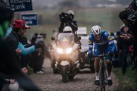 Yves Lampaert (BEL/Quick Step Floors) up the Paterberg<br /> <br /> 61th E3 Harelbeke (1.UWT)<br /> Harelbeke - Harelbeke (206km)