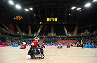 18 APR 2012 - LONDON, GBR - Great Britain's Aaron Phipps (GBR) (Class 3.5) scores during the London International Invitational Wheelchair Rugby Tournament match against Canada at the Olympic Park Basketball Arena in Stratford, London, Great Britain .(PHOTO (C) 2012 NIGEL FARROW)