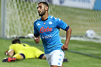 Faouzi Ghoulam of SSC Napoli celebrates after scoring a goal<br /> during the friendly football match between SSC Napoli and L Aquila 1927 at stadio Patini in Castel di Sangro, Italy, August 28, 2020. <br /> Photo Cesare Purini / Insidefoto
