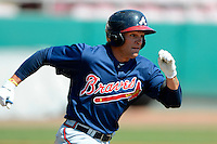 Atlanta Braves outfielder Justin Black #26 during a minor league Spring Training game against the Philadelphia Phillies at Al Lang Field on March 14, 2013 in St. Petersburg, Florida.  (Mike Janes/Four Seam Images)
