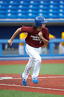 Andrew Poon (7) of Northwest Guilford High School in Greensboro, NC hustles down the first base line during the Atlantic Coast Prospect Showcase hosted by Perfect Game at Truist Point on August 23, 2020 in High Point, NC. (Brian Westerholt/Four Seam Images)