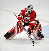19 January 2008: Northeastern University Huskies' goaltender Brad Thiessen, a Sophomore from Aldergrove, British Columbia, corrals the puck after making a save against the University of Vermont Catamounts at Gutterson Fieldhouse in Burlington, Vermont. The Catamounts defeated the Huskies 5-2 to close out their 2-game weekend series...Mandatory Photo Credit: Ed Wolfstein Photo
