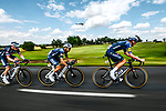 Petr Vakoc (CZE) and Kristian Sbaragli (ITA) Alpecin-Fenix with Tim Declercq (BEL) Deceuninck-Quick Step on the front of the peloton during Stage 6 of the 2021 Tour de France, running 160.6km from Tours to Chateauroux, France. 1st July 2021.  <br /> Picture: A.S.O./Charly Lopez | Cyclefile<br /> <br /> All photos usage must carry mandatory copyright credit (© Cyclefile | A.S.O./Charly Lopez)