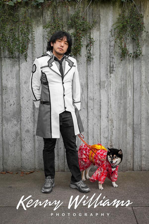 Asian Man & His Dog with Red Kimono, Sakura Con, Seattle, WA, USA.