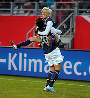 Offenbach, Germany, Friday, April 05 2013: Womans, Germany vs. USA, in the Stadium in Offenbach,  Megan Rapinoe (USA), Abby Wambach (USA) celebrates the goal.