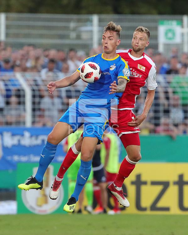 Phillip Tietz, Marvin Friedrich /   /        /      <br /> / Sport / Football / DFB Pokal 1.round 3. Bundesliga 2.Bundesliga /  2018/2019 / 19.08.2018 / FC CZ Jena vs. 1.FC Union Berlin / DFL regulations prohibit any use of photographs as image sequences and/or quasi-video. /<br />       <br />    <br />  *** Local Caption *** © pixathlon<br /> Contact: +49-40-22 63 02 60 , info@pixathlon.de