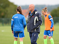 20150904 - TUBIZE , BELGIUM : Genk's Head coach Benny Lemmens  pictured during a soccer match between the women teams of RSC Anderlecht and KRC Genk Ladies  , on the second matchday of the 2015-2016 SUPERLEAGUE season, Friday 4  September 2015 . PHOTO DAVID CATRY