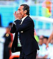 Italy coach Cesare Prandelli shouts on the touchline