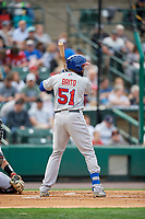 Buffalo Bisons Socrates Brito (51) at bat during an International League game against the Rochester Red Wings on May 31, 2019 at Frontier Field in Rochester, New York.  Rochester defeated Buffalo 5-4 in ten innings.  (Mike Janes/Four Seam Images)