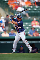 Minnesota Twins second baseman Wilfredo Tovar (36) at bat during a Spring Training game against the Baltimore Orioles on March 7, 2016 at Ed Smith Stadium in Sarasota, Florida.  Minnesota defeated Baltimore 3-0.  (Mike Janes/Four Seam Images)