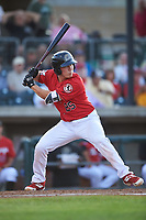 Billings Mustangs Eric Yang (25) at bat during a Pioneer League game against the Grand Junction Rockies at Dehler Park on August 15, 2019 in Billings, Montana. Billings defeated Grand Junction 11-2. (Zachary Lucy/Four Seam Images)