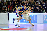 Real Madrid´s Sergio Rodriguez and Anadolu Efes´s Cedi Osman during 2014-15 Euroleague Basketball Playoffs match between Real Madrid and Anadolu Efes at Palacio de los Deportes stadium in Madrid, Spain. April 15, 2015. (ALTERPHOTOS/Luis Fernandez)