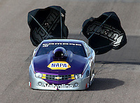 Feb 21, 2014; Chandler, AZ, USA; NHRA pro stock driver Vincent Nobile during qualifying for the Carquest Auto Parts Nationals at Wild Horse Pass Motorsports Park. Mandatory Credit: Mark J. Rebilas-USA TODAY Sports